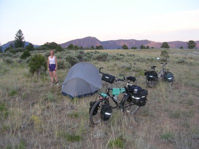 Bicycle Camping, Uphill from Radium, Colorado.