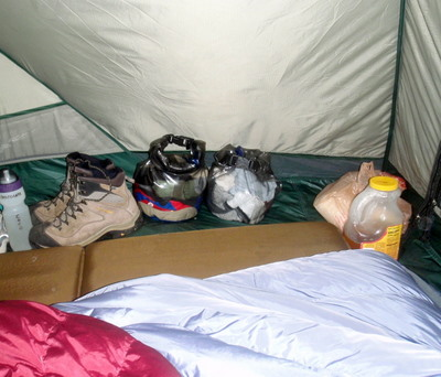 Tent Camp Interior, Trash Bag & P Bottle Next to Exit Door.